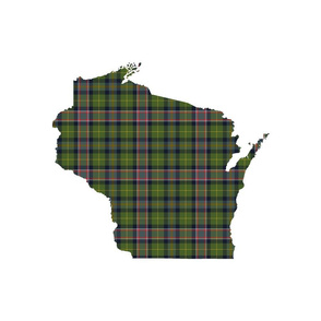 "Wisconsin silhouette - 18"" silhouette filled with 3"" warmer tartan"