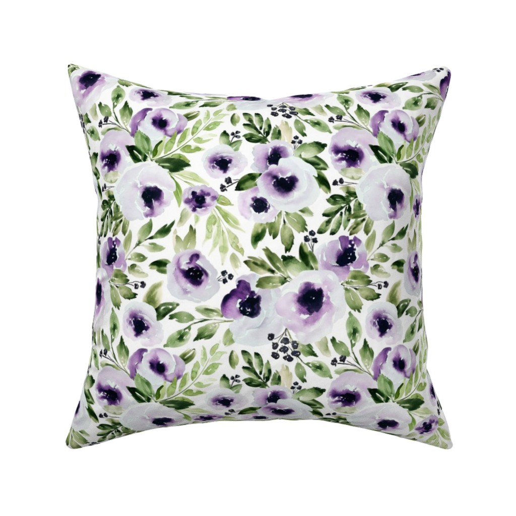 Catalan Throw Pillow featuring Violets In Bloom by northeighty