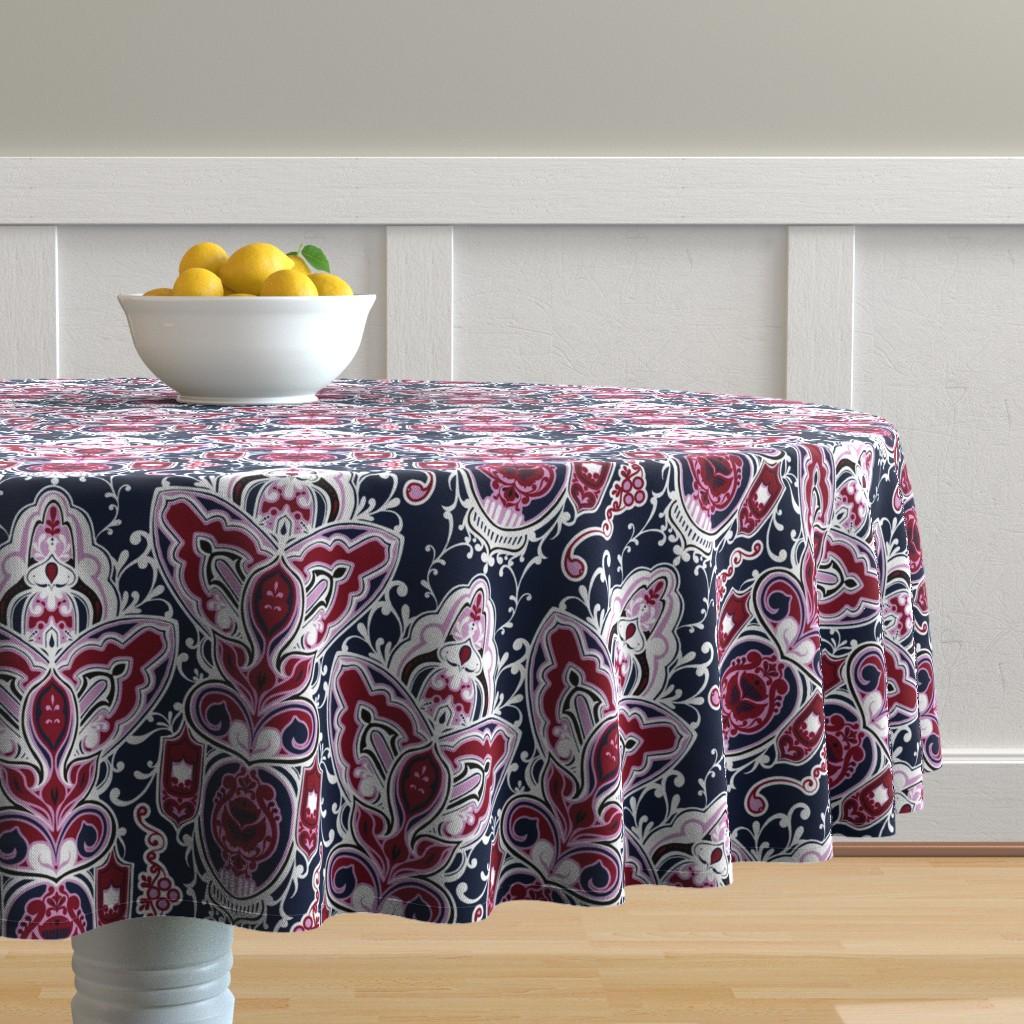 Malay Round Tablecloth featuring Dense Tiles by jadegordon