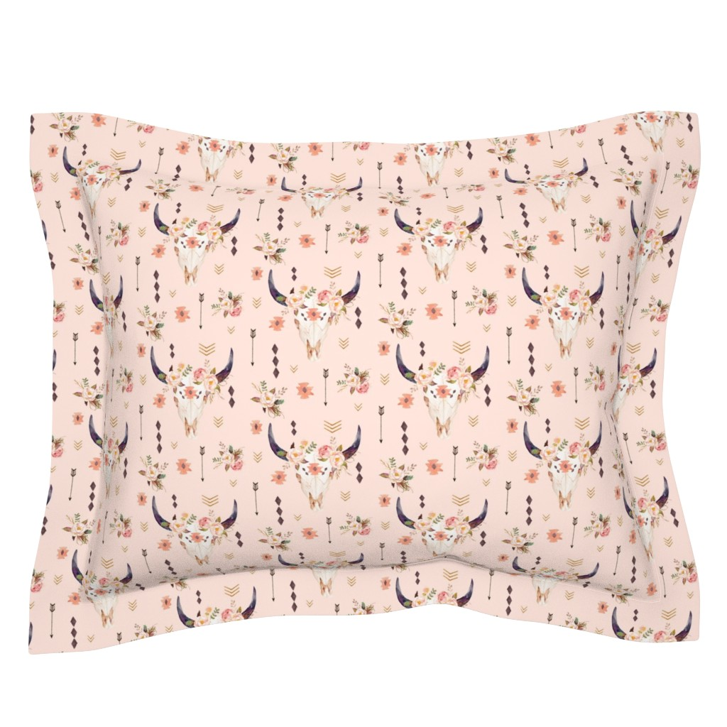 Sebright Pillow Sham featuring Boho Aztec Bison Skull Flowers (baby pink) – Longhorn Bull Horns Southwest Baby Girl Nursery A by gingerlous