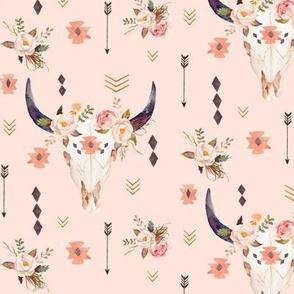 Boho Aztec Bison Skull Flowers (baby pink) – Longhorn Bull Horns Southwest Baby Girl Nursery A