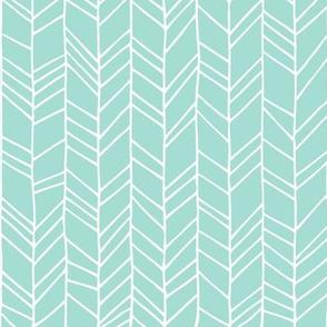 Mint Crazy Chevron Herringbone Hand Drawn Geometric Pattern GingerLous