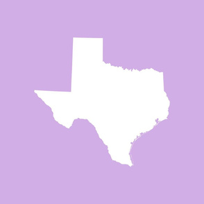 "Texas silhouette - 18"" white on lilac"