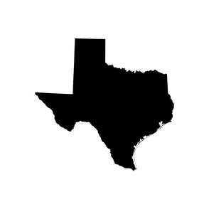 "Texas silhouette - 18"" black and white"