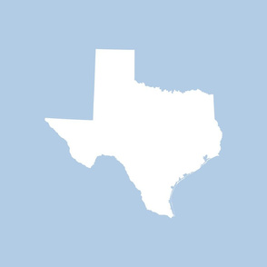 "Texas silhouette - 18"" white on light blue"
