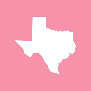 "Texas silhouette - 18"" white on pink"