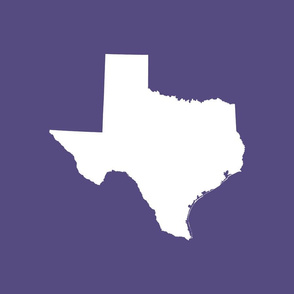 "Texas silhouette - 18"" white on purple"