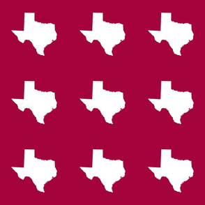"Texas silhouette - 6"" white on  cranberry"