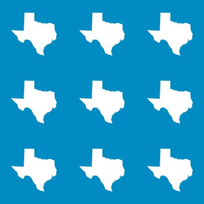 "Texas silhouette - 6"" white on bright blue"
