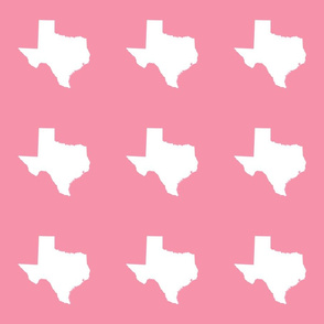 "Texas silhouette - 6"" white on  pink"