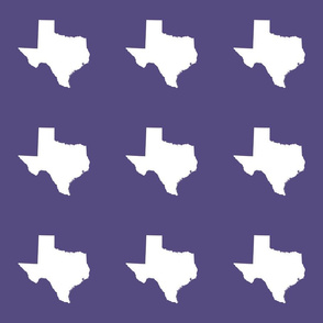 "Texas silhouette - 6"" white on  purple"