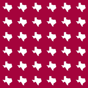 "Texas silhouette - 3"" white on cranberry"