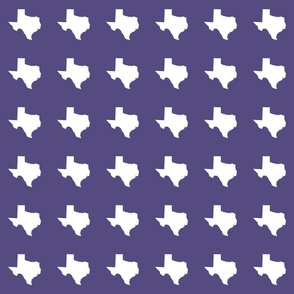 "Texas silhouette - 3"" white on purple"