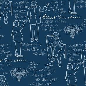 Small Scale Albert Einstein on Blue