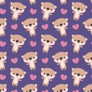 Cute otters and little hearts