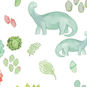 Jonah's Watercolor Succulents and Dinos