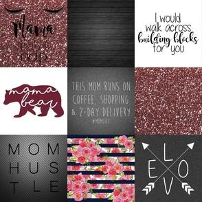 """6"""" #MomLife Floral Faux Quilt"""