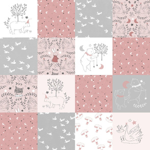 Blush Quilt Nursery / Wholecloth quilt top / Quilt Fabric Bears/ Nursery Bears Fabric Woodland Wholecloth