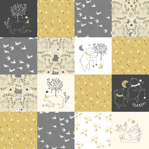 Mustard and Grey Quilt Nursery / Wholecloth quilt top / Quilt Fabric Bears/ Nursery Bears Fabric Woodland Wholecloth