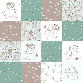 Brown and Mint Quilt Nursery / Wholecloth quilt top / Quilt Fabric Bears/ Nursery Bears Fabric Woodland Wholecloth