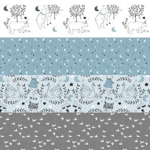 Horizontal Blue Quilt Nursery / Wholecloth quilt top / Quilt Fabric Bears/ Nursery Bears Fabric Woodland Wholecloth