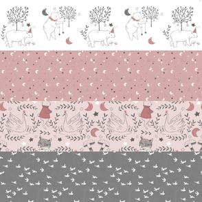 Horizontal Blush Pink Quilt Nursery / Wholecloth quilt top / Quilt Fabric Bears/ Nursery Bears Fabric Woodland Wholecloth