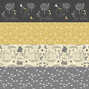 Horizontal Mustard and Grey Quilt Nursery / Wholecloth quilt top / Quilt Fabric Bears/ Nursery Bears Fabric Woodland Wholecloth