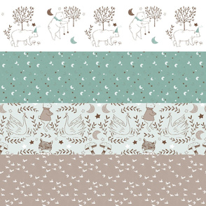 Horizontal Mint and Brown Quilt Nursery / Wholecloth quilt top / Quilt Fabric Bears/ Nursery Bears Fabric Cheater Quilt
