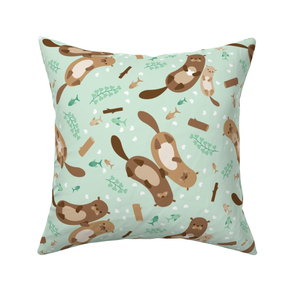 Catalan Throw Pillow featuring lovely otters by heleenvanbuul