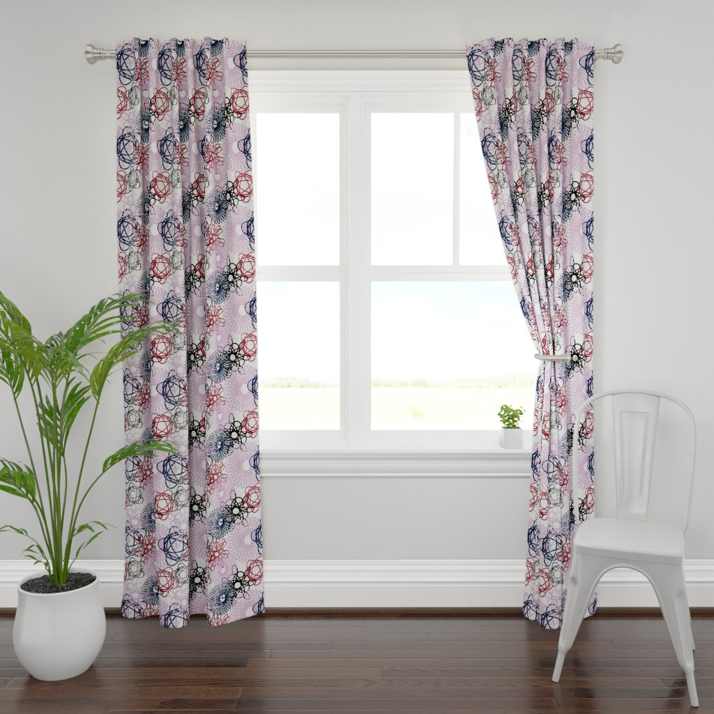 Plymouth Curtain Panel featuring Hypotrochoids - Orchid/Navy by owlandchickadee