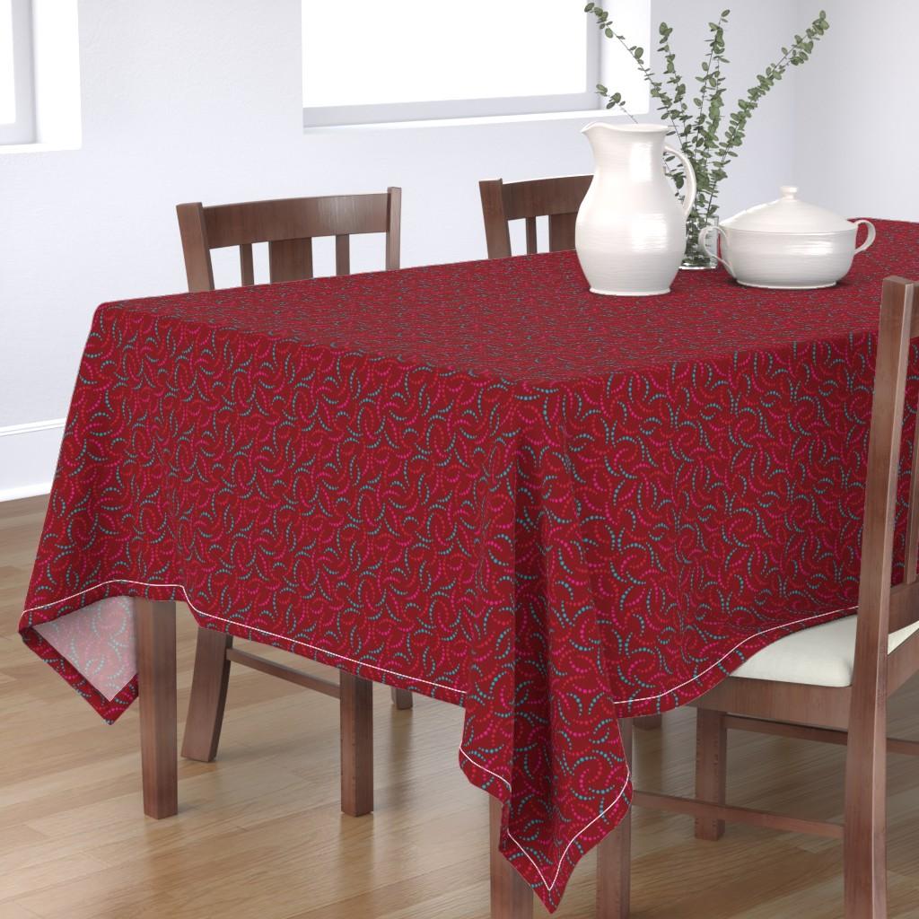 Bantam Rectangular Tablecloth featuring Roses Pink & Aqua - 3 by leventetladiscorde