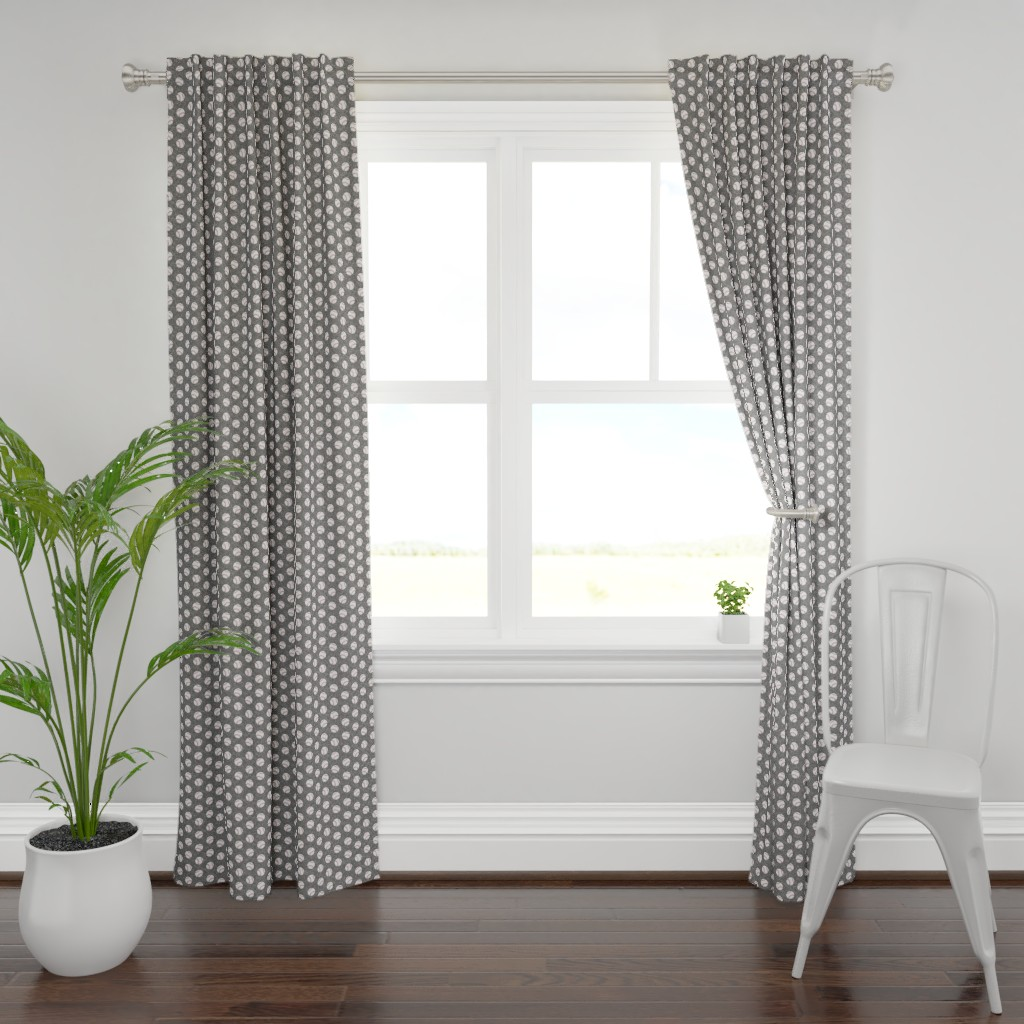 Plymouth Curtain Panel featuring baseballs - grey linen by littlearrowdesign