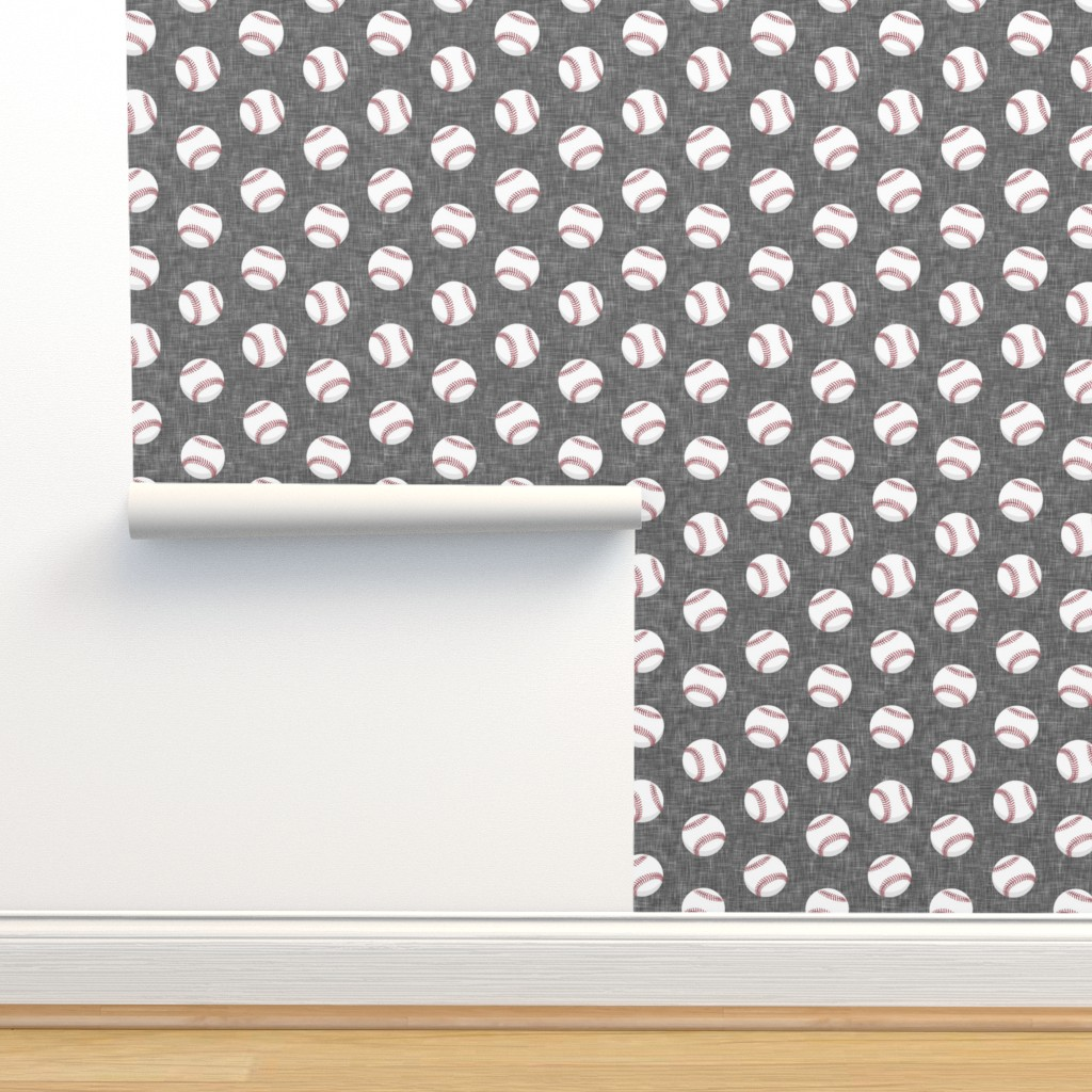 Isobar Durable Wallpaper featuring baseballs - grey linen by littlearrowdesign