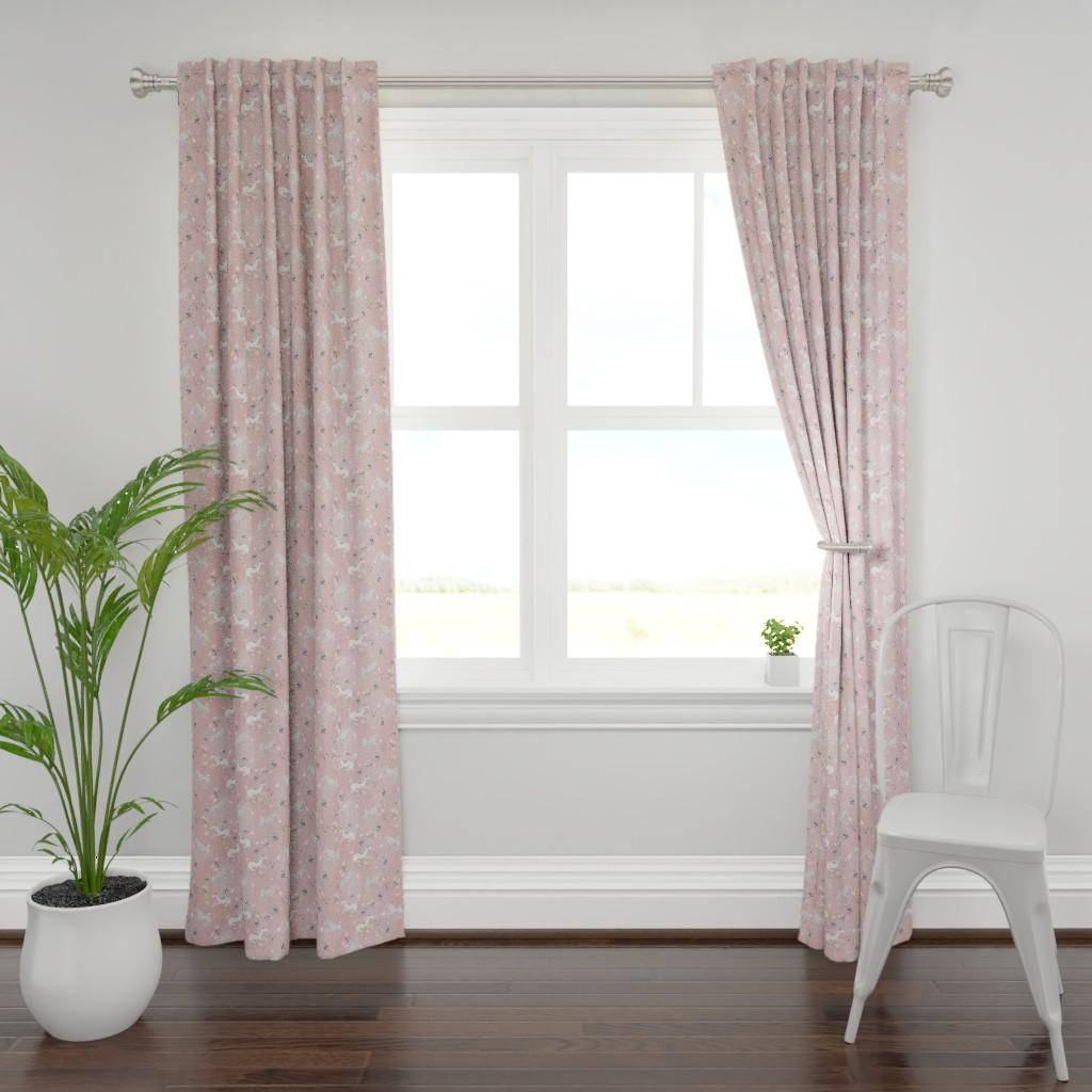 Plymouth Curtain Panel featuring Blush Hand Painted Unicorns / Floral Unicorn Fabric/ Blush Unicorn by bianca_pozzi