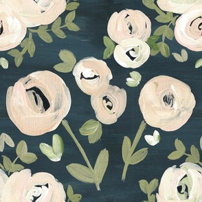 Modern Navy Blush Pink Moody Floral Nude