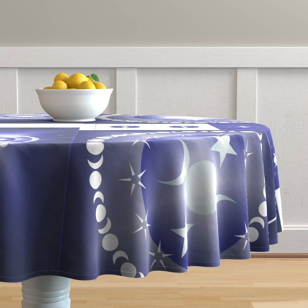 Malay Round Tablecloth featuring Triple Moon Goddess in Blue - Multisize by magicinyourlivingroom