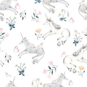 White  Hand Painted Unicorns / Floral Unicorn Fabric/ Blush Unicorn