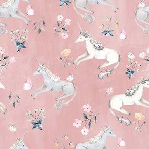 LARGE Blush Hand Painted Unicorns / Floral Unicorn Fabric/ Blush Unicorn