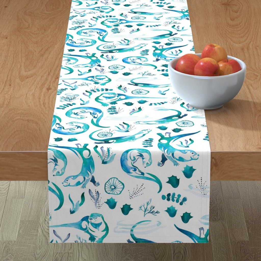 Minorca Table Runner featuring Otterly Adorable by gingerlique