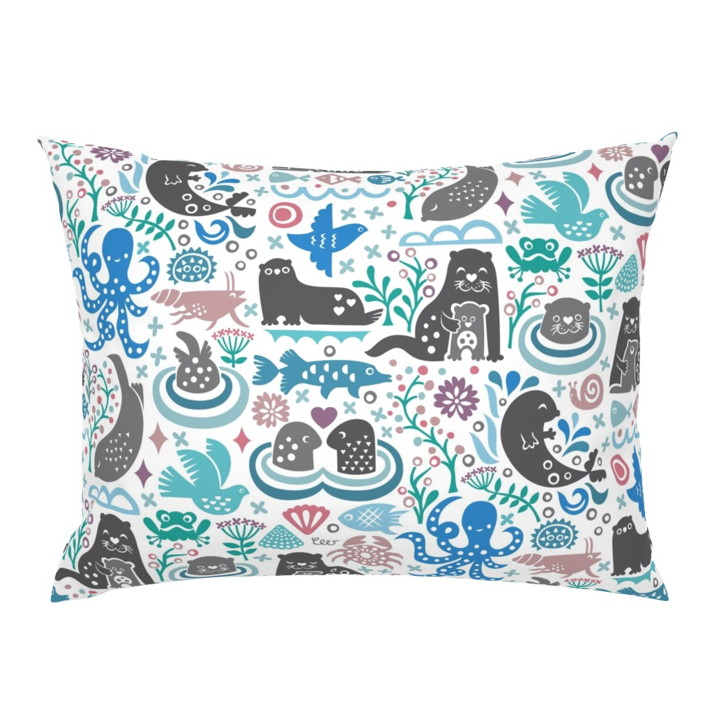 Campine Pillow Sham featuring Otter Life at Bering Strait by studio_amelie