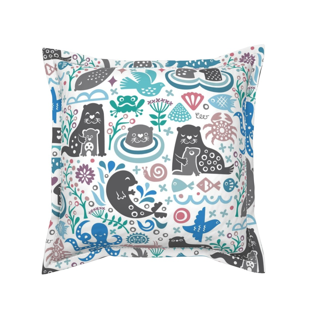 Serama Throw Pillow featuring Otter Life at Bering Strait by studio_amelie