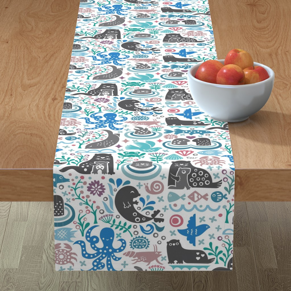 Minorca Table Runner featuring Otter Life at Bering Strait by studio_amelie