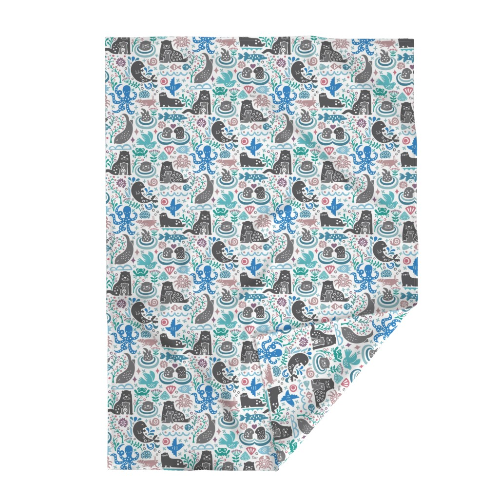 Lakenvelder Throw Blanket featuring Otter Life at Bering Strait by studio_amelie