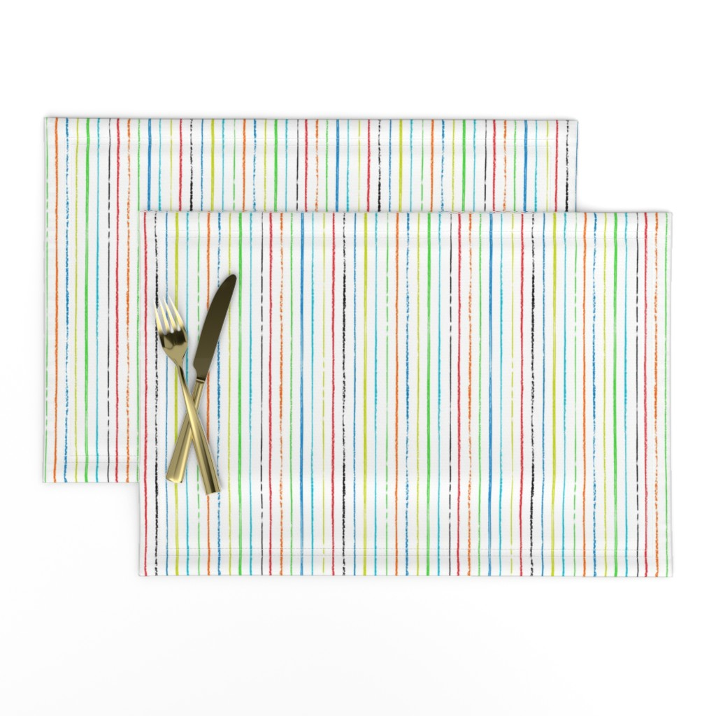 Lamona Cloth Placemats featuring Passing Notes in Class // Hand Drawn Inky Marker Pen Stripes in Red, Orange, Lime, Green, Cyan, Blue, and Black  by zirkus_design
