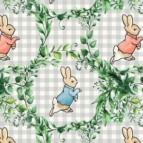 Peter Rabbit on Gray Gingham with Greenery