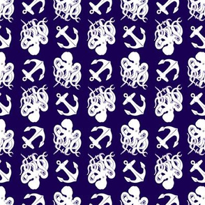small octopus and anchors white on navy