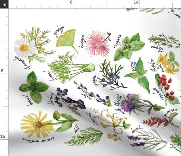 Plants And Herbs Alphabet Tea Towel Spoonflower
