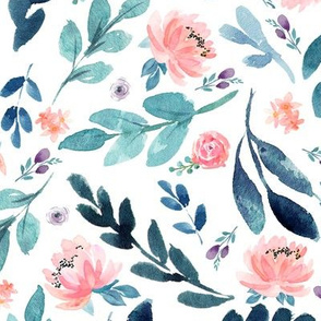 Blush Peach Watercolor Peonies & Teal/Blue Leaves - Large Scale