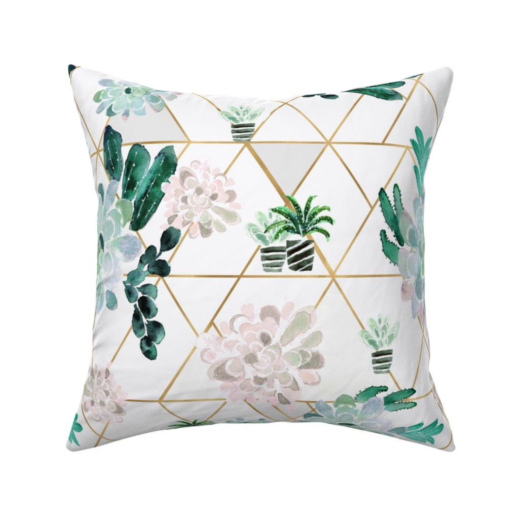 Catalan Throw Pillow featuring Succulent by crystal_walen