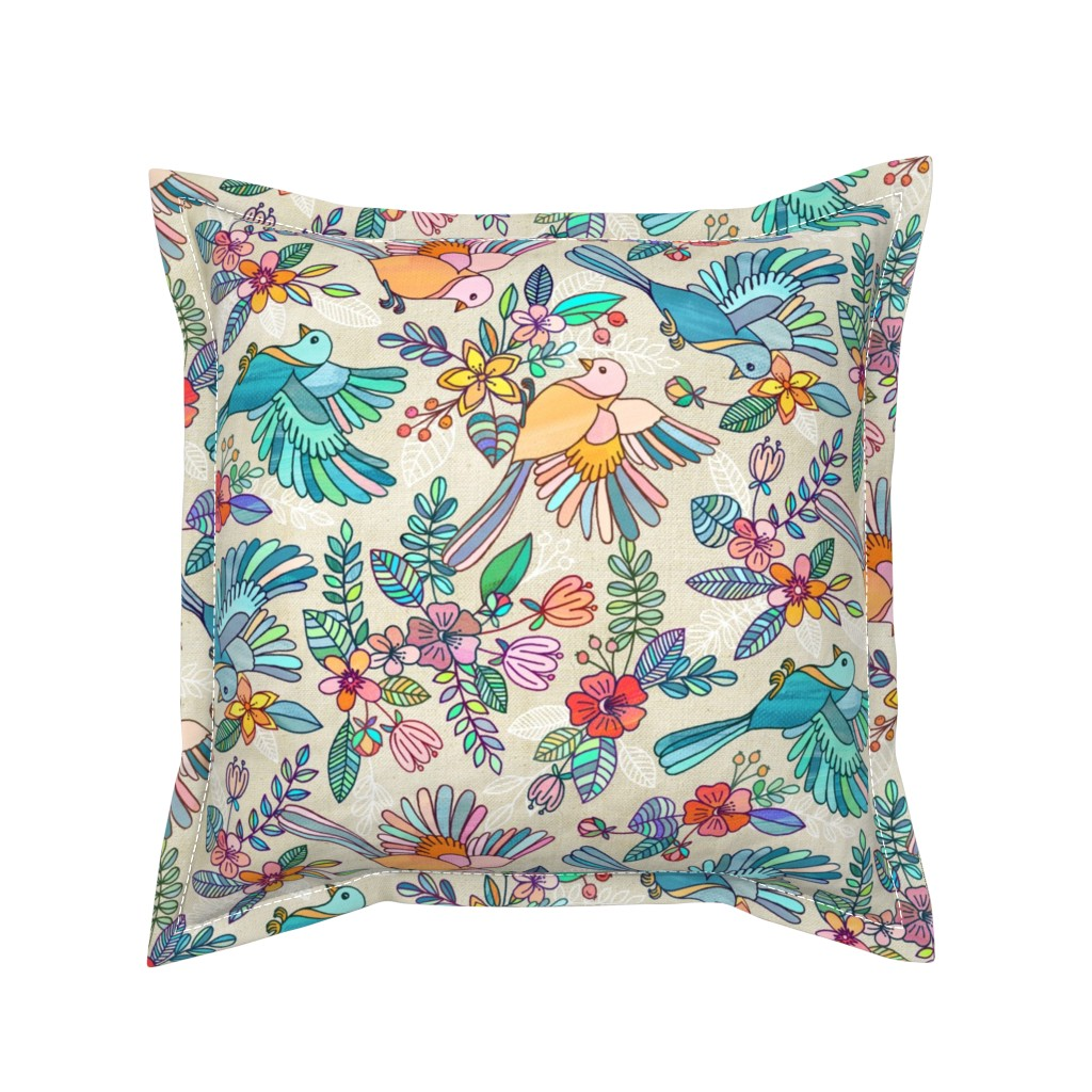 Serama Throw Pillow featuring Whimsical Summer Flight rotated by micklyn